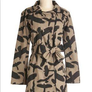 Unique Bold Bird Print trench coat